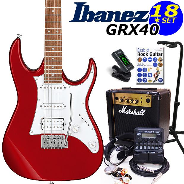 Ibanez アイバニーズ GRX40 CA エレキギター マーシャルアンプ付 初心者セット16点 ZOOM G1on付き【エレキギター初心者】【送料無料】