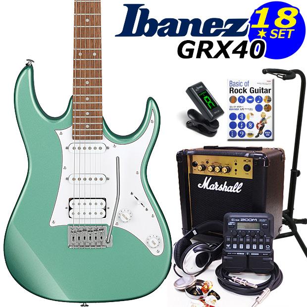 Ibanez アイバニーズ GRX40 MGN エレキギター マーシャルアンプ付 初心者セット18点 ZOOM G1Four付き【エレキギター初心者】