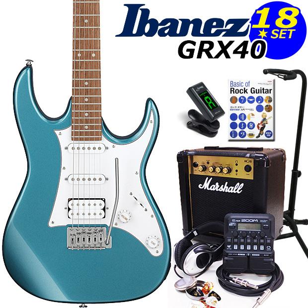 Ibanez アイバニーズ GRX40 MLB エレキギター マーシャルアンプ付 初心者セット18点 ZOOM G1Four付き【エレキギター初心者】