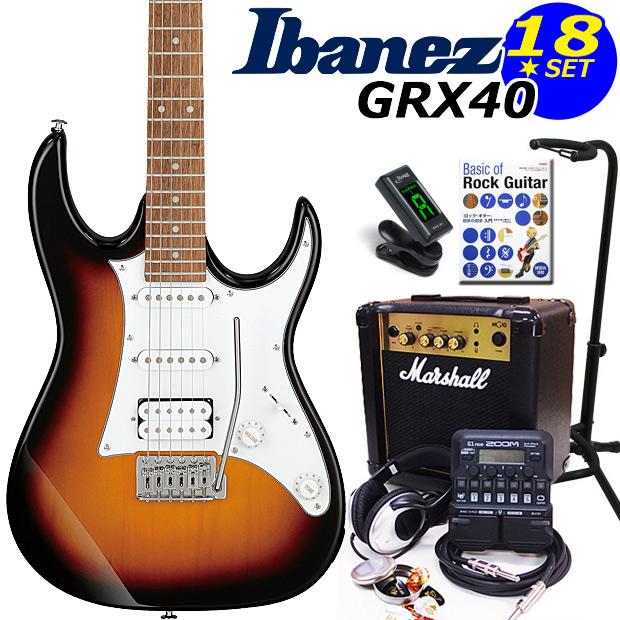 Ibanez アイバニーズ GRX40 TFB エレキギター マーシャルアンプ付 初心者セット16点 ZOOM G1on付き【エレキギター初心者】【送料無料】