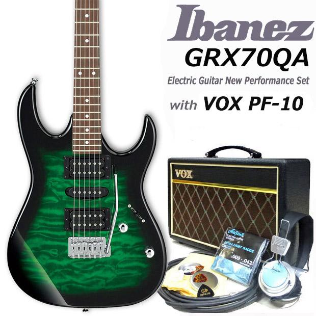 Ibanez アイバニーズ GRX70QA TEB VOXアンプ付き入門15点セット【エレキギター初心者】