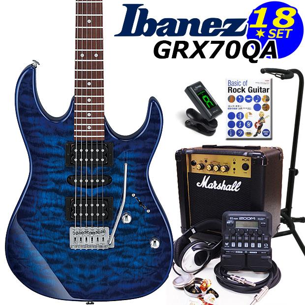 Ibanez アイバニーズ GRX70QA TBB エレキギター マーシャルアンプ付 初心者セット16点 ZOOM G1on付き【エレキギター初心者】【送料無料】