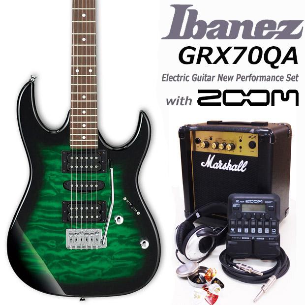 Ibanez アイバニーズ GRX70QA TEB エレキギター マーシャルアンプ付 初心者セット16点 ZOOM G1on付き【エレキギター初心者】【送料無料】