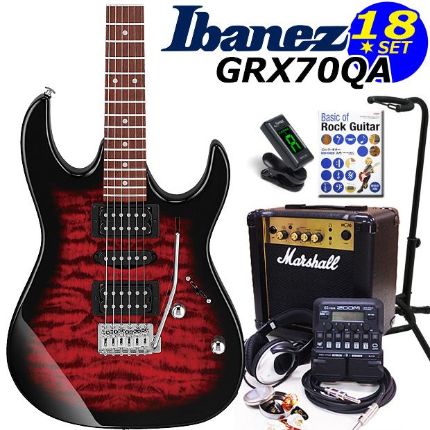 Ibanez アイバニーズ GRX70QA TRB エレキギター マーシャルアンプ付 初心者セット16点 ZOOM G1on付き【エレキギター初心者】【送料無料】