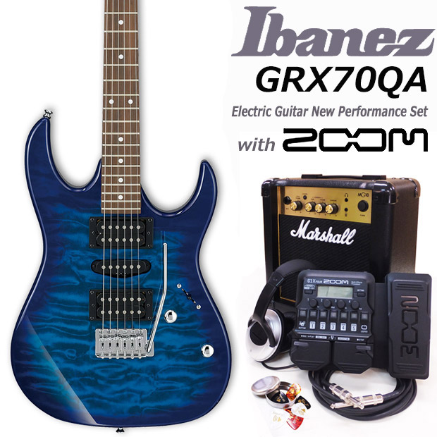 Ibanez アイバニーズ GRX70QA TBB エレキギター マーシャルアンプ付 初心者セット18点 ZOOM G1XFour付き【エレキギター初心者】