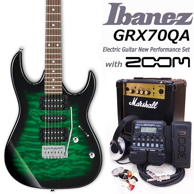 Ibanez アイバニーズ GRX70QA TEB エレキギター マーシャルアンプ付 初心者セット18点 ZOOM G1XFour付き【エレキギター初心者】