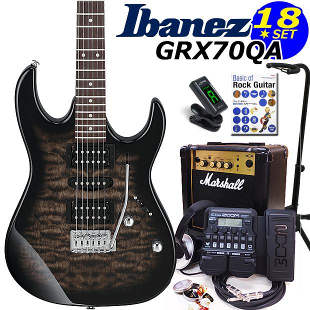 Ibanez アイバニーズ GRX70QA TKS エレキギター マーシャルアンプ付 初心者セット16点 ZOOM G1Xon付き【エレキギター初心者】【送料無料】