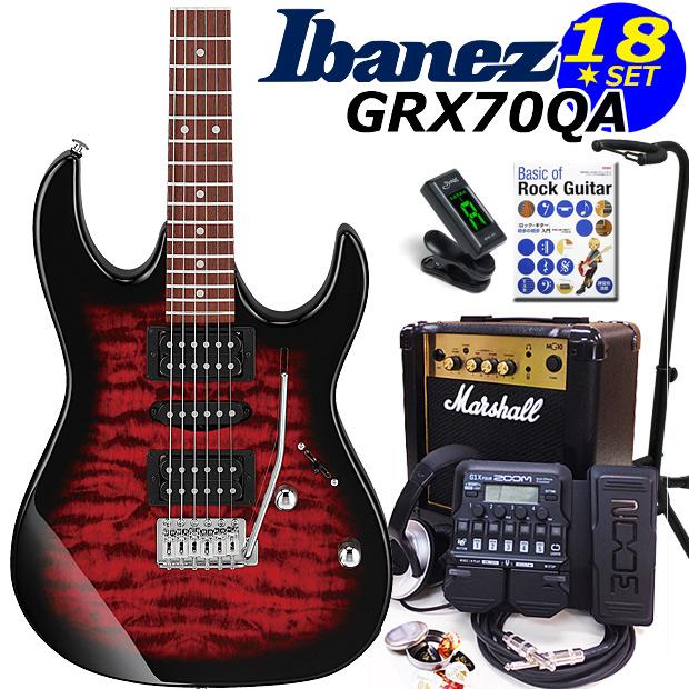Ibanez アイバニーズ GRX70QA TRB エレキギター マーシャルアンプ付 初心者セット16点 ZOOM G1Xon付き【エレキギター初心者】【送料無料】