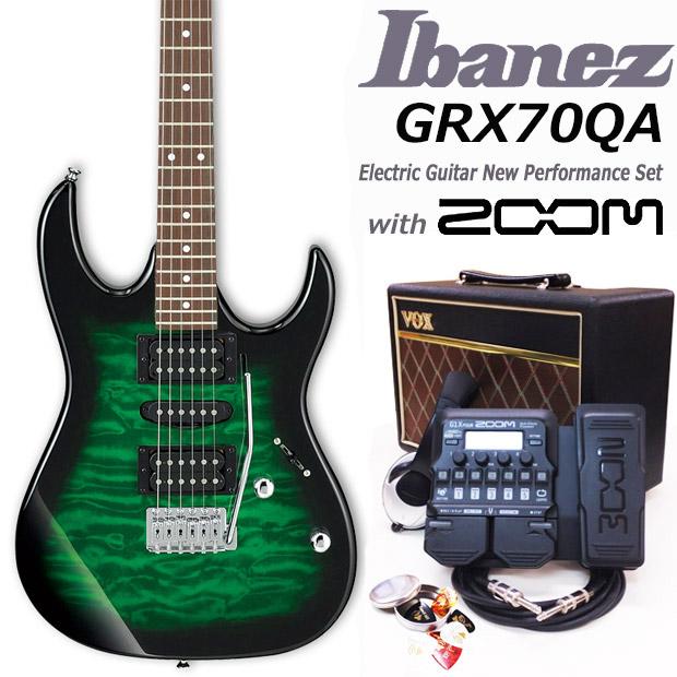 Ibanez アイバニーズ GRX70QA TEB エレキギター初心者 18点入門セット【エレキギター初心者】