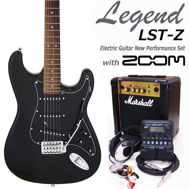 マルチエフェクターZOOM G1Four付きエレキギター16点セット NEW Legend レジェンド LST-Z B-BKBK エレキギター初心者 大幅値下げランキング エレキギター ZOOM G1Four付き マーシャルアンプ付 初心者セット18点