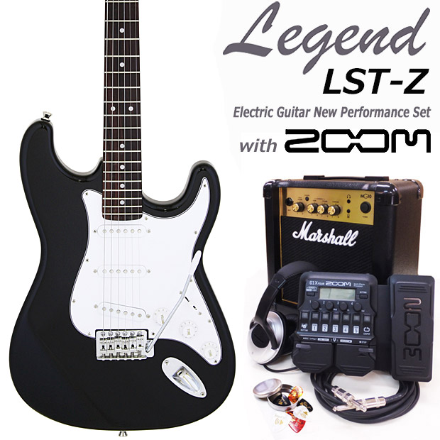 Legend レジェンド LST-Z/BKBK エレキギター マーシャルアンプ付 初心者セット18点 ZOOM G1XFour付き【エレキギター初心者】