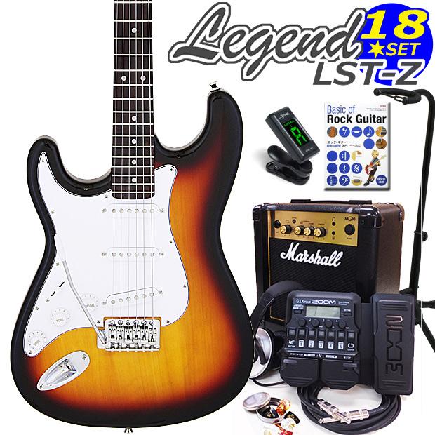 Legend レジェンド LST-Z LH/3TS 左利きエレキギター マーシャルアンプ付 初心者セット18点 ZOOM G1XFour付き【エレキギター初心者】