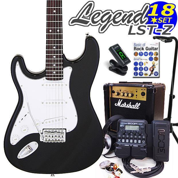 Legend レジェンド LST-Z LH/BK 左利きエレキギター マーシャルアンプ付 初心者セット16点 ZOOM G1Xon付き【エレキギター初心者】【送料無料】