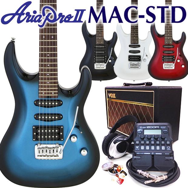 エレキギター 初心者 入門 AriaProII MAC-STD VOXアンプ ZOOM G1on付属 18点セット【エレキ ギター初心者】【エレクトリックギター】【VOX Pathfinder10】【ZOOM G1on マルチエフェクター】【送料無料】