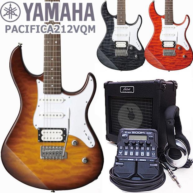 YAMAHA ヤマハ パシフィカ PACIFICA 212VQM ZOOM G1Four付き 初心者 18点セット【エレキ ギター入門】