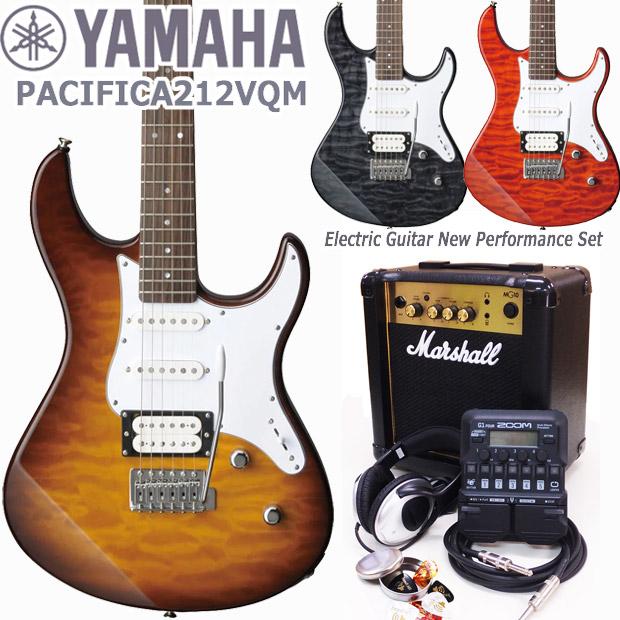 YAMAHA ヤマハ エレキギター PACIFICA212VQM Marshallアンプ ZOOM G1Four付き 初心者 入門 18点セット【エレキ ギター入門】