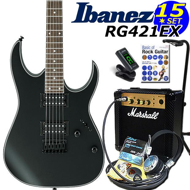 Ibanez アイバニーズ RG421EX BKF エレキギター マーシャルアンプ付 初心者セット15点【エレキギター初心者】【送料無料】