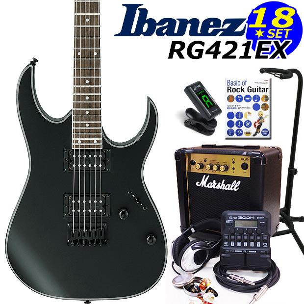 Ibanez アイバニーズ RG421EX BKF エレキギター マーシャルアンプ付 初心者セット18点 ZOOM G1on付き【エレキギター初心者】【送料無料】