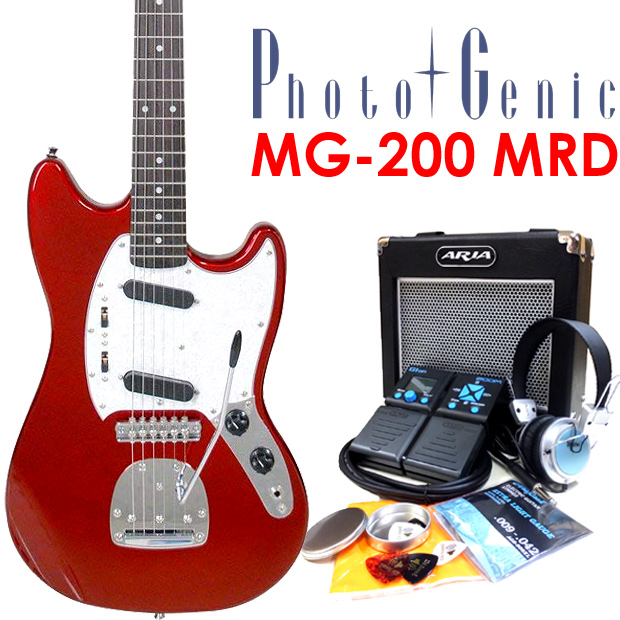 エレキギター初心者 フォトジェニック Photogenic MG-200 MRD 入門セット18点 ムスタングタイプ 【エレキギター初心者】【ムスタング Mustang】