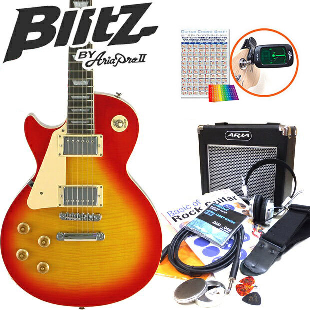ebisound electric guitar left handed person beginner guide 15 points set les paul type cherry. Black Bedroom Furniture Sets. Home Design Ideas