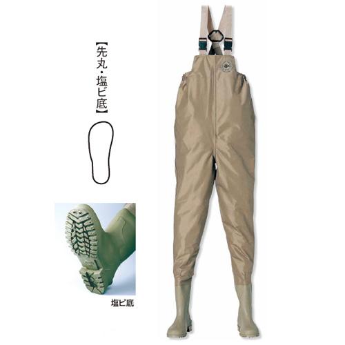 阪神素地 F-91 水産長靴(胸当付)[先丸・塩ビ底] 25cm