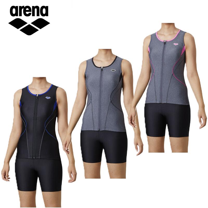 アリーナ レディース フィットネス水着 大きめカラースナップ付きセパレーツ LAR-0241WE 水泳 スイミング プール