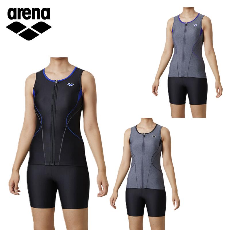 【あす楽】アリーナ レディース フィットネス水着 大きめカラースナップ付きセパレーツ LAR-0241WE 水泳 スイミング プール