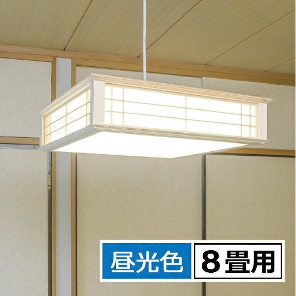 \ポイント5倍/『送料無料』OHM LED和風ペンダントライト 8畳用 昼光色 リモコン付 天然木使用 LT-W30D8K-K