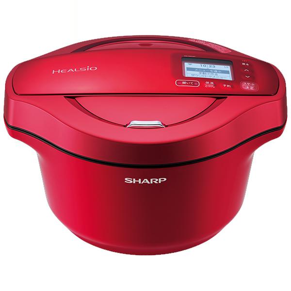 最大ポイント4倍!『送料無料』シャープ 水なし自動調理鍋 ヘルシオホットクック レッド KN-HW24C-R