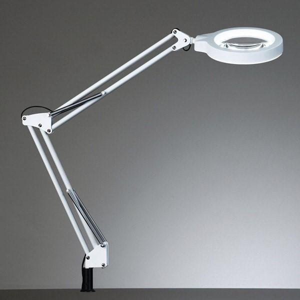 『送料無料』山田照明 ルーペ付LEDデスクライト ホワイト Z-LIGHT 昼白色 クランプ式 2.25倍拡大レンズ付 Z-37NL-W, 立科町:57927183 --- flets116.jp