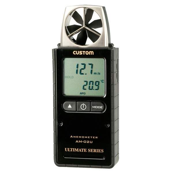 『送料無料』カスタム デジタル風速計 ピアノブラック 風速・温湿度計 AM-02U