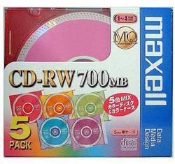 マクセル CDRW80MIX.1P5S データ用 CD-RW 700MB 繰り返し記録 4倍速 5枚