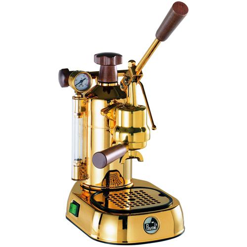 【長期保証付】ラ・パボーニ PDH(ゴールド・18金メッキ) エスプレッソコーヒーマシン プロフェッショナル スチール&ステンレス&天然木