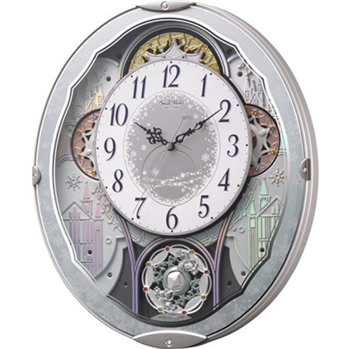 リズム時計 4MN537RH04(青メタリック色) スモールワールドビスト 報時付電波掛け時計