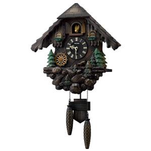 リズム時計 4MJ422SR06(濃茶ボカシ木地仕上) カッコーヴァルト 報時付クオーツ掛け時計