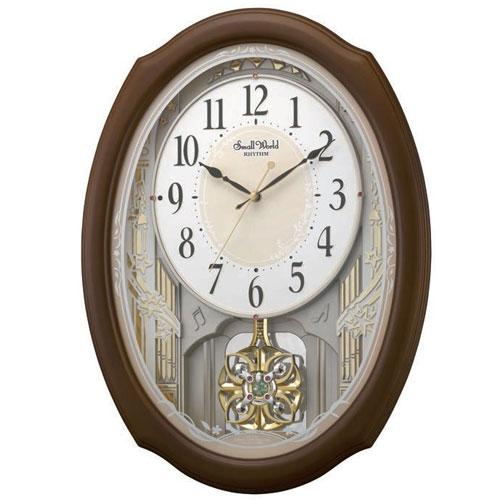 リズム時計 4MN541RH06(茶色半艶仕上) スモールワールドセレブレ 報時付電波掛け時計