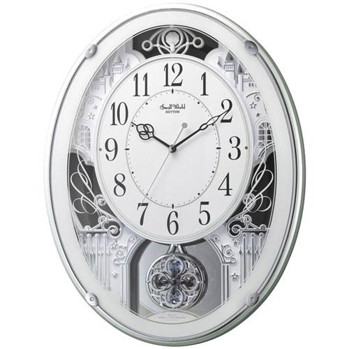 リズム時計 4MN523RH05(緑メタリック色) スモールワールドプラウド 報時付電波掛時計