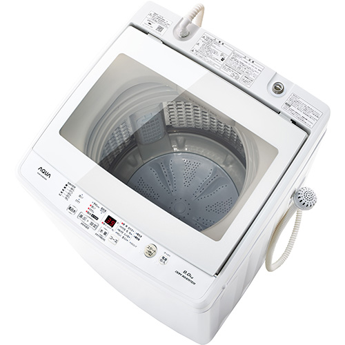 【設置】アクア AQW-GV80G-W(ホワイト) 全自動洗濯機 上開き 洗濯8.0kg