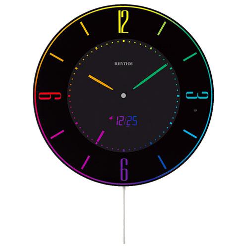 リズム時計 8RZ197SR02(黒) Iroria A(イロリア エー) AC電源デジタル掛置兼用時計