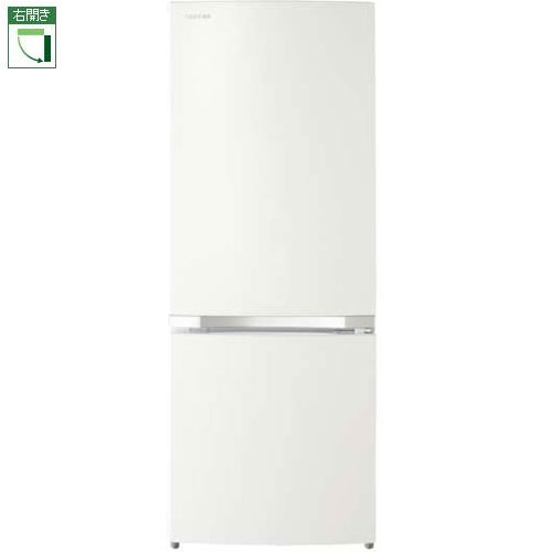 【設置+リサイクル+長期保証】東芝 GR-P15BS-W(パールホワイト) 2ドア冷蔵庫 右開き 153L