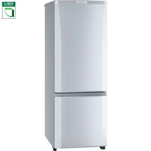 【設置+リサイクル】三菱 MR-P17D-S(シャイニーシルバー) Pシリーズ 2ドア冷蔵庫 右開き 168L