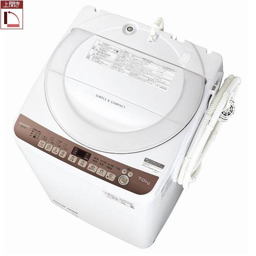 【設置+長期保証】シャープ ES-T712-T(ブラウン系) 全自動洗濯機 上向き 洗濯7kg/乾燥風乾燥kg