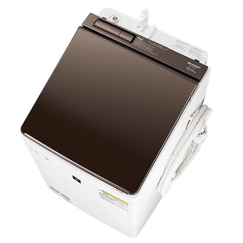 【標準設置料金込】シャープ ES-PW10D-T(ブラウン系) タテ型洗濯乾燥機 上開き 洗濯10kg/乾燥5kg[代引・リボ・分割・ボーナス払い不可]
