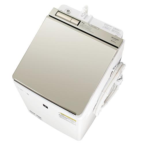 【標準設置料金込】【長期保証付】シャープ ES-PW8D-N(ゴールド系) タテ型洗濯乾燥機 上開き 洗濯8kg/乾燥4.5kg[代引・リボ・分割・ボーナス払い不可]