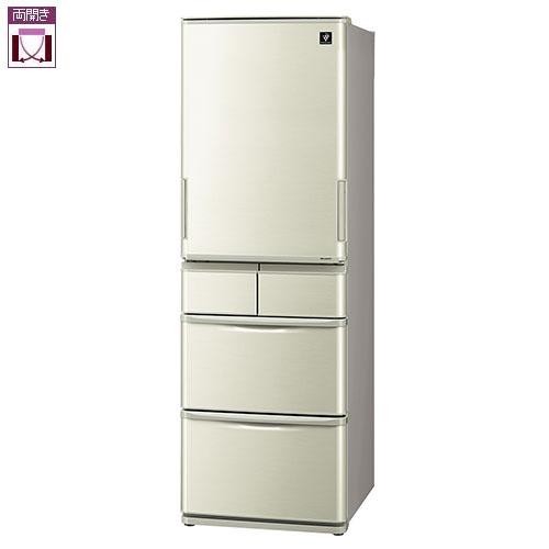 【標準設置料金込】シャープ SJ-W411F-N(シャンパンゴールド) 5ドア冷蔵庫 左右フリー 412L[代引・リボ・分割・ボーナス払い不可]