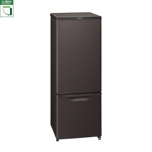 設置 高価値 リサイクル パナソニック 配送員設置送料無料 NR-B17DW-T マットビターブラウン 右開き 2ドア冷蔵庫 168L