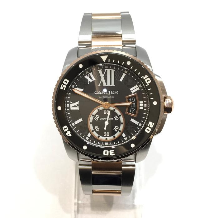 中古 Cartier カルティエ W7100054 カリブルダイバー ピンクゴールド 自動巻き 防水 ゴールド 腕時計  メンズ腕時計 USED-S