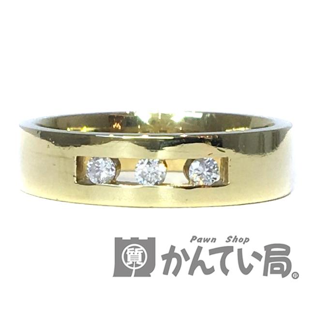 中古 K18 ダイヤモンド 3石 リング メレ ブランド買うならブランドオフ 0.1ct 金 ゴールド 透かし USED-A スリーストーン 10号 平打ち ダイヤ 豊富な品