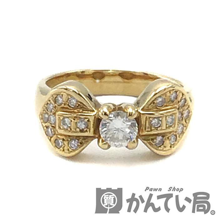 ダイヤモンドと18金の贅沢な指輪 中古 激安通販販売 USED-B キャンペーンもお見逃しなく K18ダイヤモンドリング