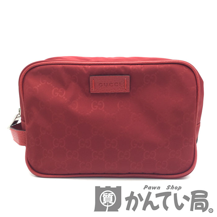 美品 ポーチ クラッチバッグ GUCCI グッチ 510338 買取 GGナイロン 赤 セカンドバッグ メンズ レッド 国際ブランド レディース USED-SA